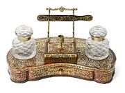 Antique English Boulle Ware Work Twin Ink Well Inkstand Lockwood Of London C1860