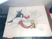 Virgil Ross Sketch - Sylvester The Cat And Tweety Bird Tweety Got Your Tongue
