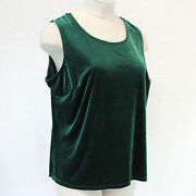 Quacker Factory Green Velour Sequins Two Pieces Set Sleeveless Top And Cardigan Xl