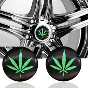 4 X 56mm Cannabis Marijuana Pot Sticker Wheel Center Cap Sticker Emblem Decals