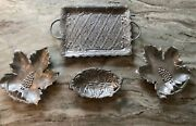 Vintage Rh Macy And Co Pewter Silvertone Serving Trays - Set Of 4andnbsp