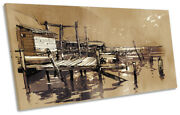 Fishing Village Pier Sketch Panoramic Canvas Wall Art Print Picture Brown