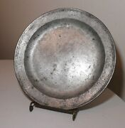 Large Antique 1700and039s Dutch Master Raymond Dey Forged Pewter Platter Plate Bowl