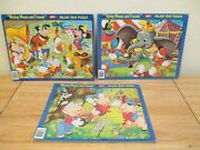 3 Disney Jaymar Mickey Mouse And Friends Concert Goofy Inlaid Tray Puzzles +more