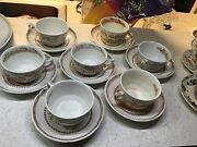 Furnivals 1913 Brown Quail Cup And Saucers - Set Of 8- Made In England