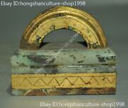 Old Chinese Palace Dynasty Hetian Jade 24k Gold Gilt Carved Seal Stamp Signet