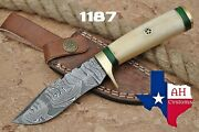 Hand Forged Damascus Steel Skinner Hunting Knife Andbone W/brass Guard Handle 1187