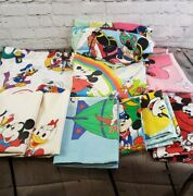 Large Lot Of Vintage Mickey Mouse And Friends Sheets Flats Fitted Pillowcases
