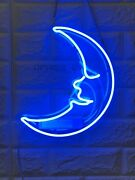 New Blue Moon Neon Sign Wall Decor Artwork Light Lamp Display Party