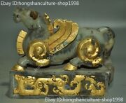 Chinese Ancient Hetian Jade 24k Gold Gilt Carved Beast Animal Seal Stamp Signet