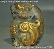 Chinese Ancient Hetian Jade 24k Gold Gilt Carved Beast Animal Sacrifice Statue