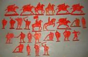 Set Of 27 Vintage Soviet Ussr Red Solid Plastic Soldiers Knights Toy For Kids
