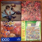 Lot Of 4 Jigsaw Puzzles Springbok Colorful Sequins Rainbow Complete Fine Art