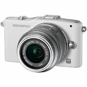 Near Mint Olympus E-pm1 12.3mp With 14-42mm White - 1 Year Warranty