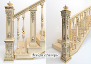 High Quality Carved Box Newel Post, Salvage Staircase From Oak Or Beech