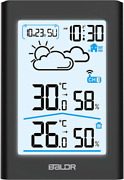 Baldr Indoor Outdoor Thermometer Hygrometer With White Backlight, Digital Wire