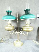 English Brass Double Student Lamp Cased Green Shades