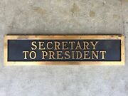 Vintage Brass Double Sided Secretary To President Desk Office Executive Plate