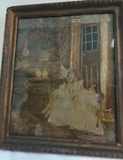 Antique Pictural Couture Soie And Laine Trois Filles And Enfant And039holdingand039 Un Doll