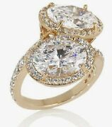 Absolute Jean Dousset 8.88ct Moiettoi Ss Oval Bypass Gold Tone Ring Size 7