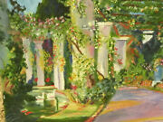 Lovely Garden Painting With Classic Structures Oil On Canvas Signed C S 02