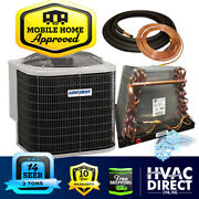 3 Ton 14 Seer Airquest-heil By Carrier Mobile Home Ac Unit + Coil + 30and039 Line Set