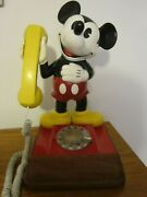Vtg. Mickey Mouse Phone 1976 Rotary Gold Tone Dial 15 Disney Works
