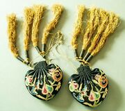 Antique Chinese Qing Dynasty Pair Of Embroidered Silk Purses Scent/pouches