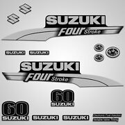 Outboard Engine Graphics Kit Sticker Decal For Suzuki 60 Hp Silver