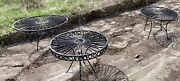 3 Wrought Iron Drink Cocktail Tables Hand Forged Patio Deck Porch Inside