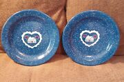 Tres Blue Graniteware 10 1/4 R Plates/ Home And Hearts / Set Of 2