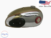 Fit For Bsa A7 A10 Golden Painted Chromed Fuel Tank And Capand Knee Pads No Badges