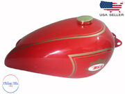 Bsa B31 Red Painted Aluminum Fuel Petrol Tank With Brass Cap And Tapfits For