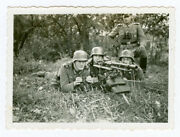 German Soldiers Firing An Mg34 On Lafette Mount With Optic Sight. Orig Ww2 Photo
