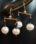 Antique Victorian Ancient Roman Onyx Bead Southsea Pearl Earrings Solid Gold 9ct