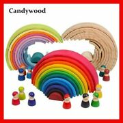 Montessori Wooden Toy Childrenand039s Large Rainbow Stacker Creative Educational Toys