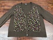 Eddie Buaer Women's Brown Floral Full Button Down Top Size Extra Large Regular