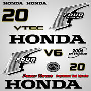 Outboard Engine Graphics Kit Sticker Decal For Honda 20 Hp Silver