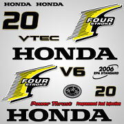 Outboard Engine Graphics Kit Sticker Decal For Honda 20 Hp Yellow