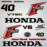 Outboard Engine Graphics Kit Sticker Decal For Honda 40 Hp Red