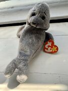 Slippery The Seal Ty Beanie Baby-rare Crooked Nose And Mouth-1999 Retired-tagerror