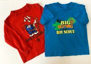 2 Boy Scout Little Brother Size 2t T-shirts Lot Blue Red Bsa Cub Scout