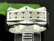 14k Solid White Gold Mens Diamond Ring Channel Set 5 Stone Made In Usa 1.16 Ct
