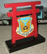 Us Air Force 475th Air Base Wing Yakota Japan Unit Insignia On Pagoda Plaque