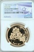 1969 Israel Gold 100 Lirot Shalom Ngc Pf 69 Ultra Cameo Top Pop Low Mintage