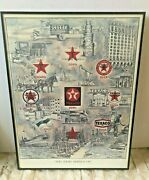 Vintage 1987 Texaco Oil The Star Shines On Print By Sunde In Black Metal Frame