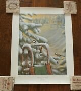 Bruce Langton Limited Edition Christmas In The Country Chickadees Print Signed
