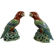 Pair Of Vintage Chinese Export Style Parrot Figurines