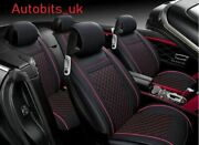 Full Set 9 Pieces Black Car Seat Covers Pu Leather Universal Dog Pet Protector