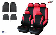 Red Car Seat Covers And Rubber Car Mats Set For Vw Jetta Golf Mk 3/4/5/6 Touran